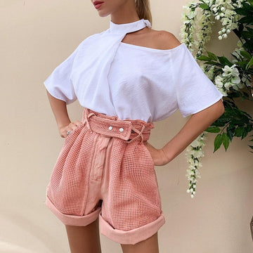Carrie Pink High Waist Shorts