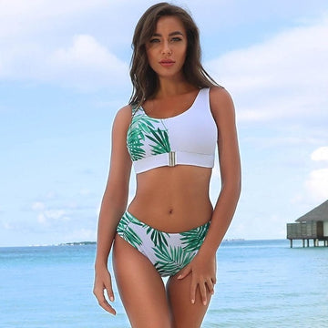 Yara Tropical Green Leaf Bikini Set