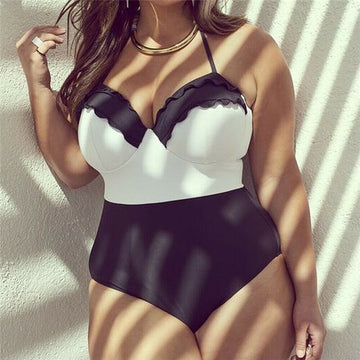 Audrey Black and White Plus Size Swimsuit