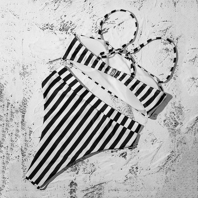 Viper Striped High-Waisted Bikini Set