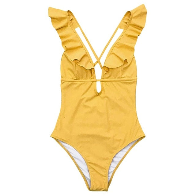 Layla Yellow Ruffles One-Piece Swimsuit
