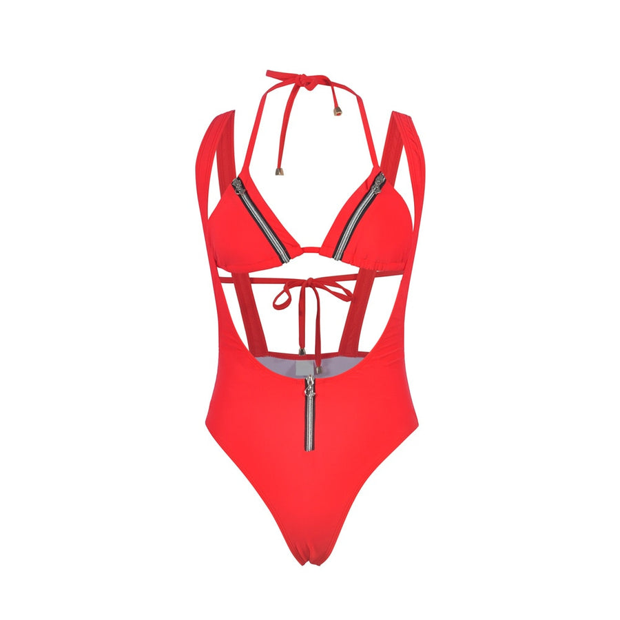 Quinn Halter Zip One-Piece Swimsuit