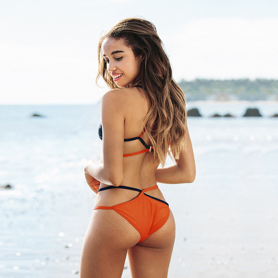 Dior Orange and Navy Strappy Bikini Set
