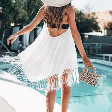 Trina White Backless Cover-Up w/ Tassels