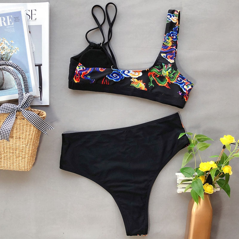 Kelly Black Dragon Print Bikini Set