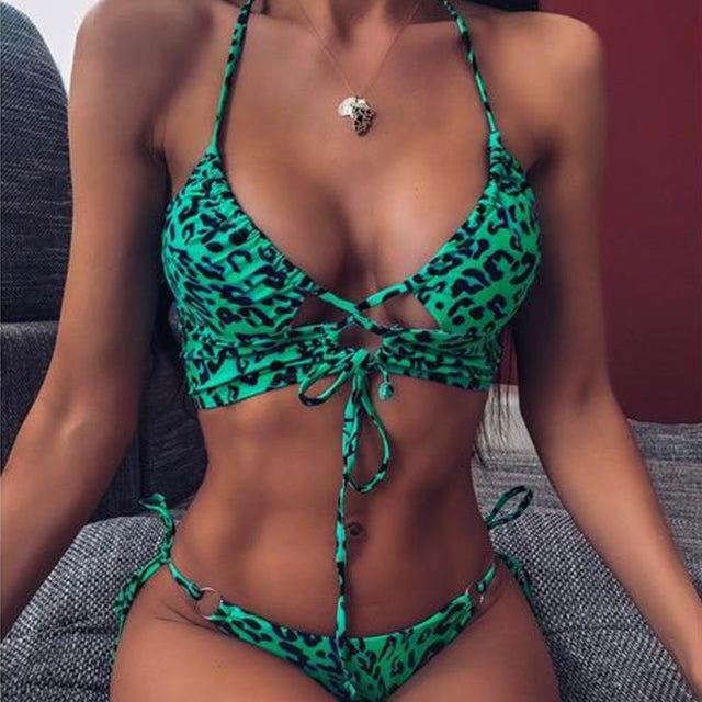 Kelly Leopard Green Bikini Set