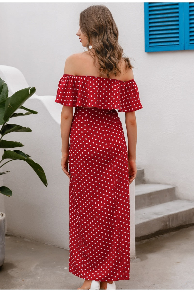 Lydia Off Shoulder Dress | Red