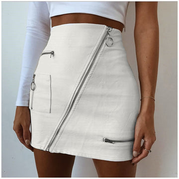 Eliza White Ring Zip Skirts