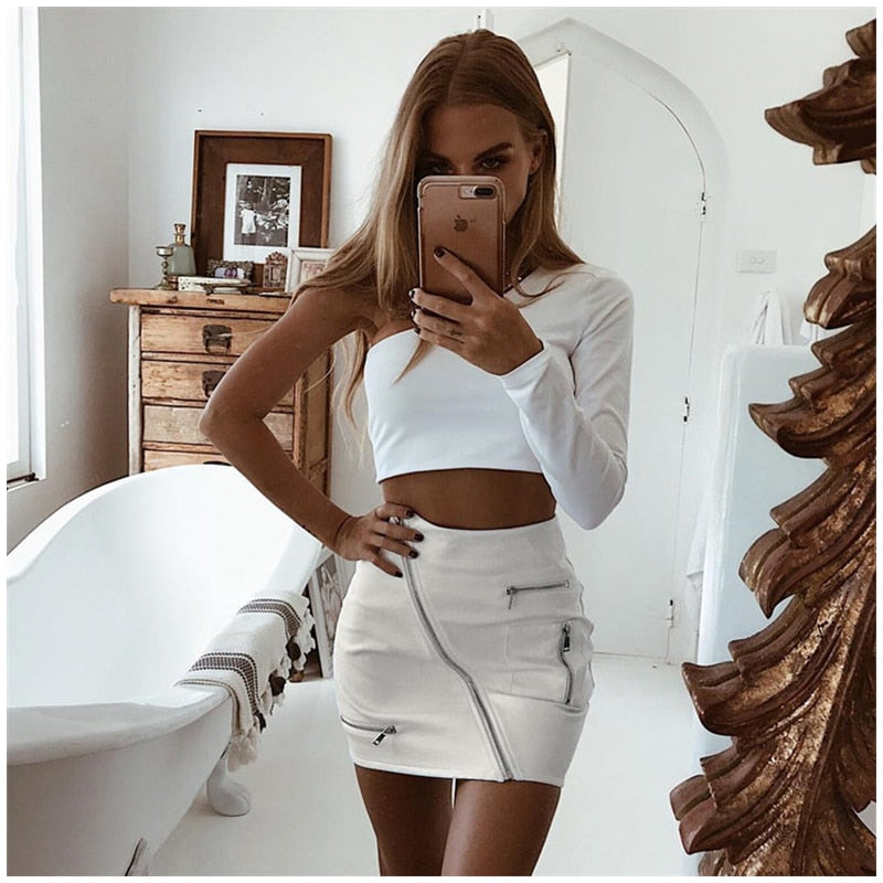 Eliza White Ring Zip Skirt