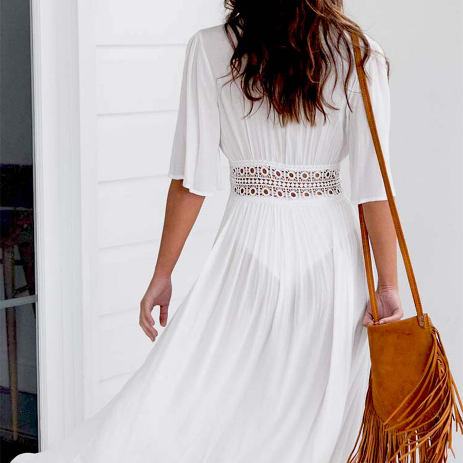 Posey White Long Maxi Cover-Up Dress