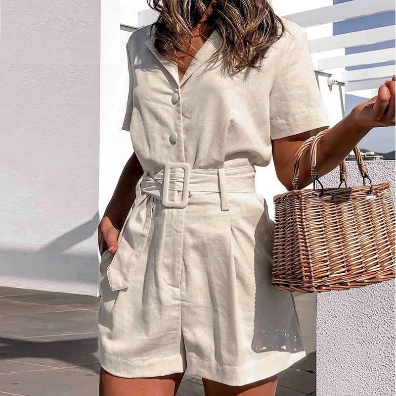 Reagan White Romper