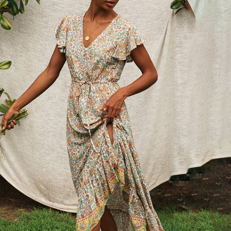 Ariadne Floral Print Long Dress