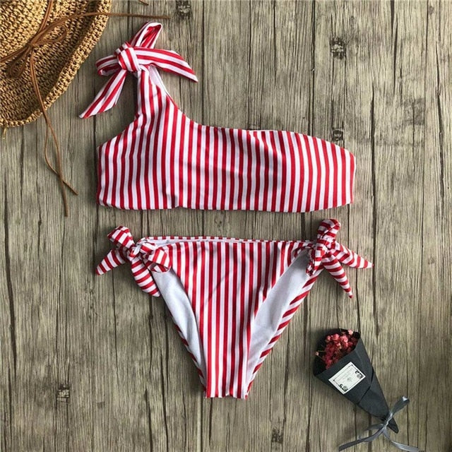 Lucy One Shoulder Striped Bikini Set