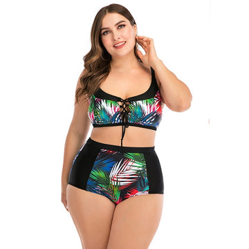 Ari Black and Floral Print Plus-Size Bikini