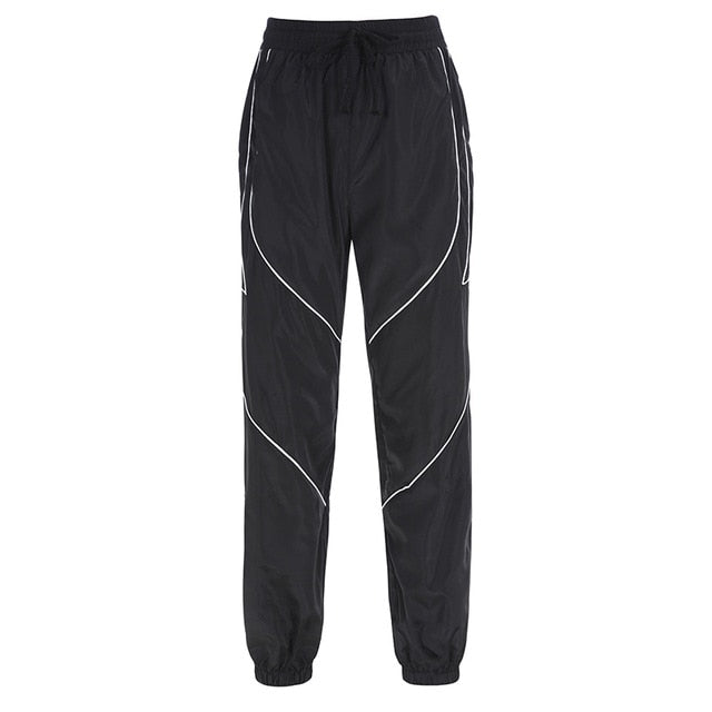 Delilah Black Strip Jogger Pants