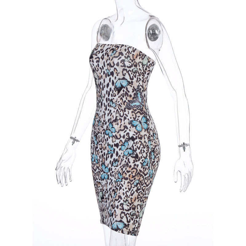 Dinah Blue Butterfly Print Dress