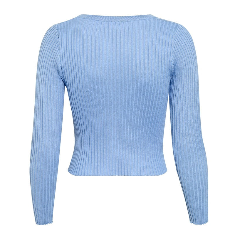 Blue, Baby Ribbed Cropped Cardigan