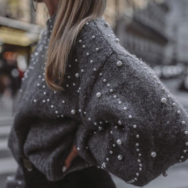 Pearly Lantern Sleeve Sweater