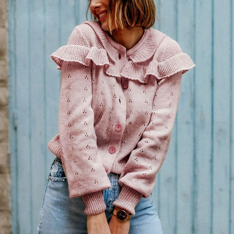 Pink Ruffled Cutout Cardigan