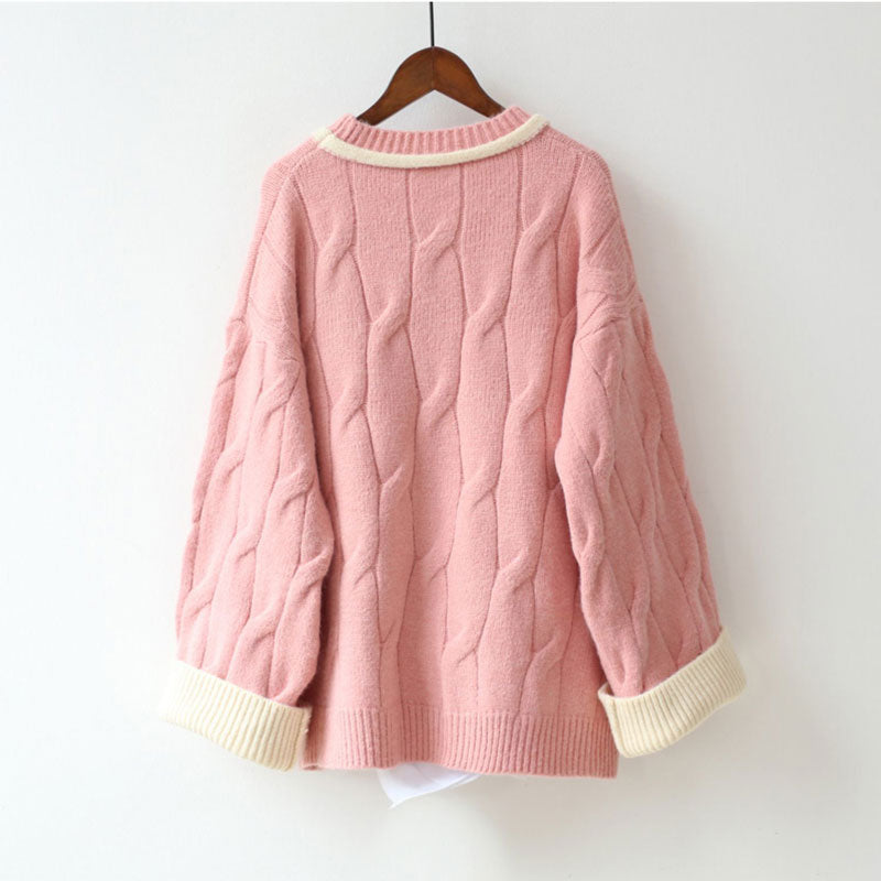 Pink Cable Knit Oversized Sweater
