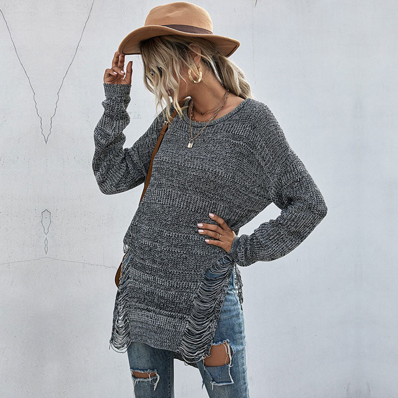 Distressed Long Grey Sweater