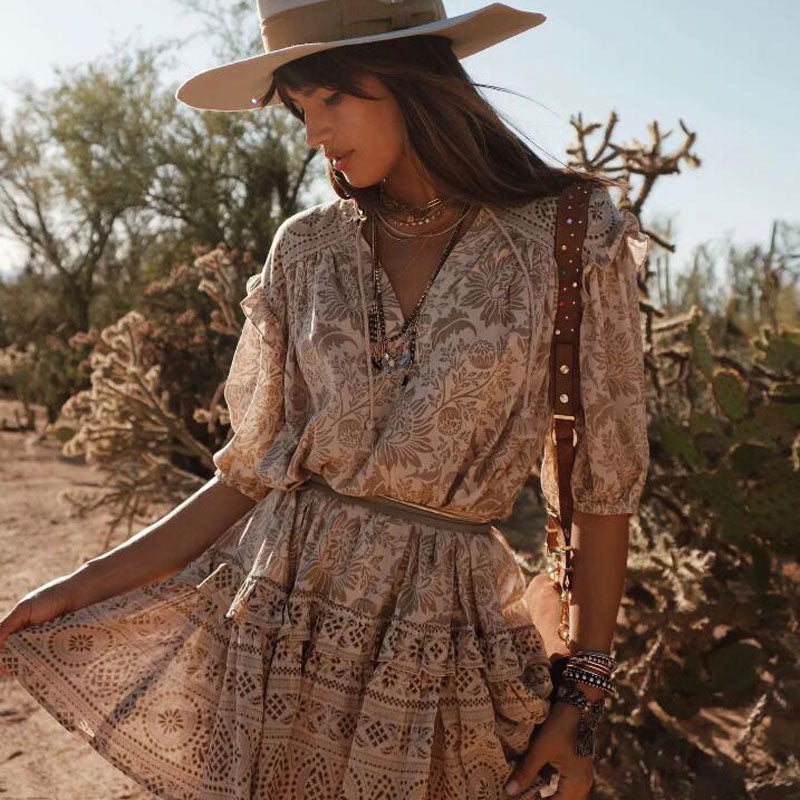 Bohemian Drop-Waist Mini Dress