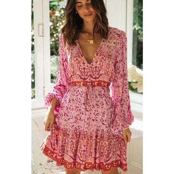 Flowers & Vines Bohemian Mini Dress