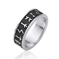 Antique Silver Wicca Black Engraving Norse Viking Ring