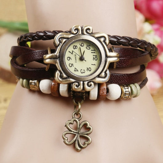 Vintage Clover Beads Leather Watch