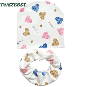 8650c794401 Baby Hat Infant Caps Cotton Scarf Baby Beanies Love Heart Print Spring Autumn  Children Hat Scarf Set Baby Girls Hats Photo Props