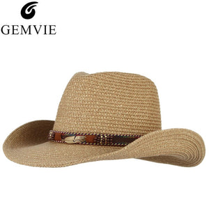 GEMVIE Vintage Western Cowboy Hat For Men Summer Straw Hats Alloy Feather  Cowgirl Jazz Cap Wide Brim Sun Caps Sombrero 8a9968236556