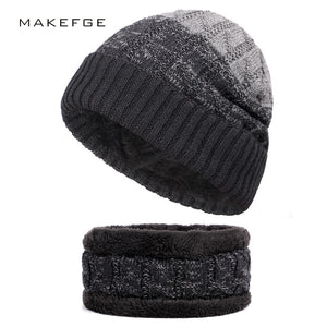92a17761bc1 2018 Winter Beanies Plus velvet Men Scarf Knitted Hat Caps Mask Gorras  Bonnet Warm Baggy Women Skullies Hats scarves Sets Male