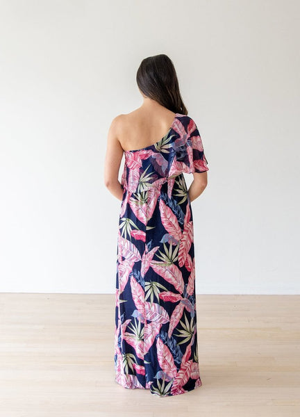 The Alexa One-Shoulder Maternity Maxi Dress