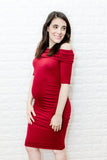 The Sasha Bodycon Maternity Dress (Wine)