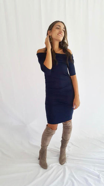 The Sasha Bodycon Maternity Dress (Navy)