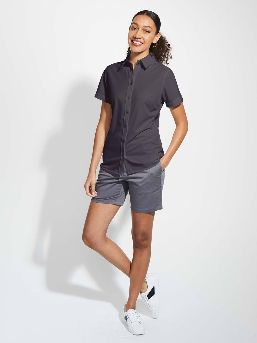 Ladies' X1 Performance Knit Shirt Short Sleeve - Graphite Grey