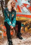 Grim Garden Patched & Hand Painted Bleached Denim Womens Jacket - Grim Garden