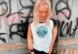 Oldschool Grey Garden Girls Baseball Tee White Shirt with Bleached Black Sleeves - Grim Garden