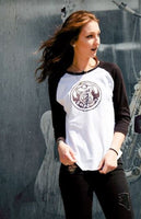 Oldschool Grey Garden Girls Baseball Tee White Shirt / Black Sleeves - Grim Garden