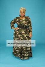 Camouflage Print Pocket Dress