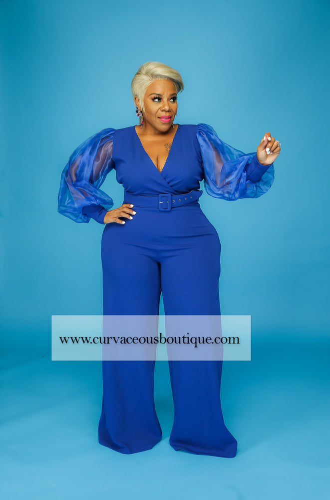 Royal Blue Sheer Sleeve Jumpsuit