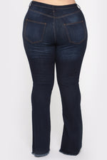 Dark Blue Raw Hem Flare Jeans