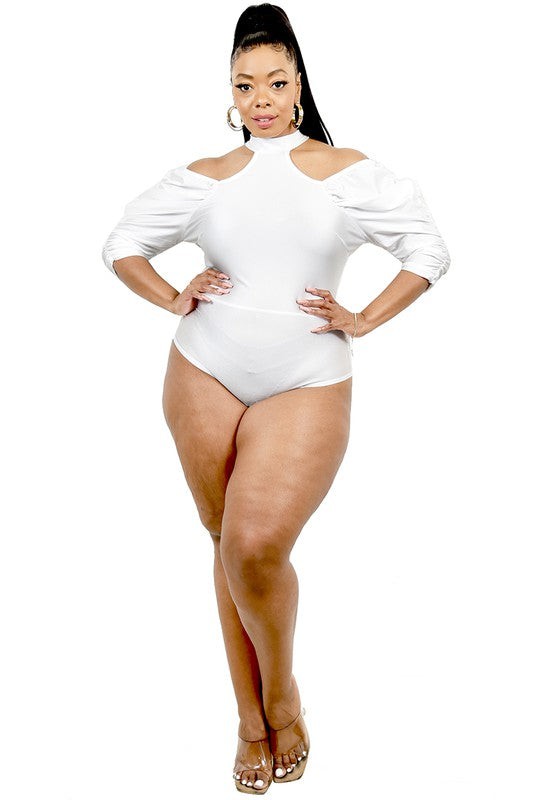 White Cold Shoulder Catsuit