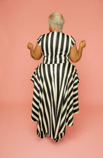 Wide Pin Stripe Peplum Jumpsuit