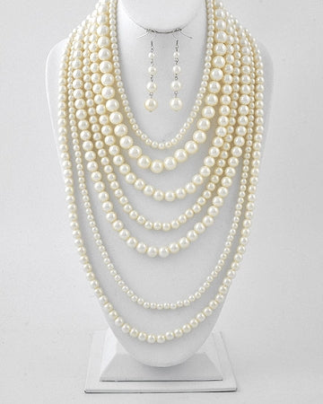 Cream Pearl  Multi Row Necklace