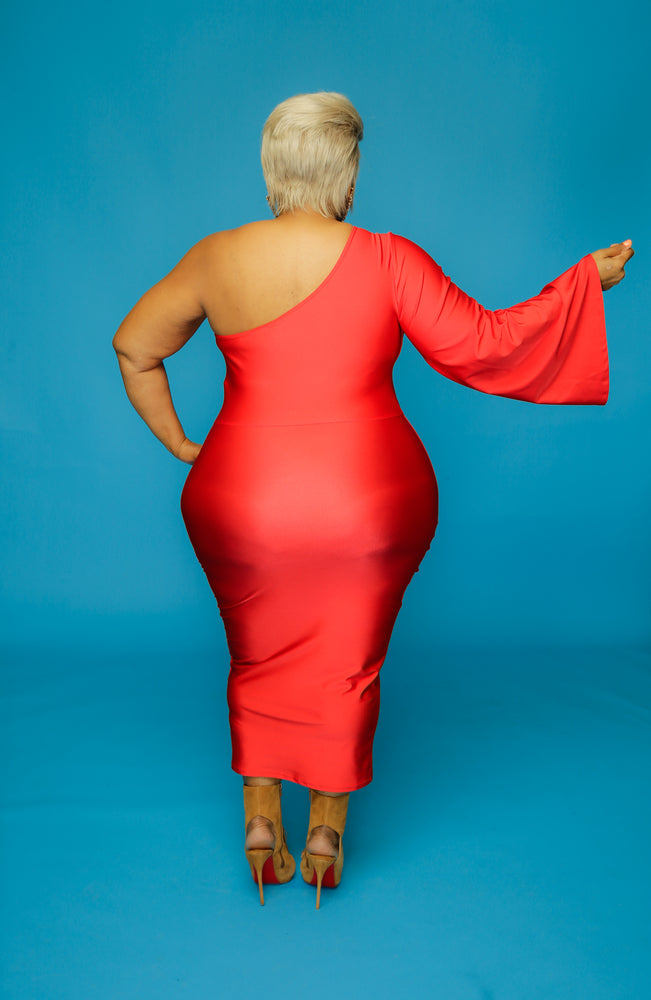 Red Gia One Shoulder Dress  Curvaceous Boutique-4371