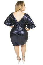 Midnight Blue Sequin Mini Dress