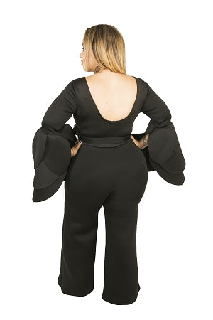 Black Stella Petal Sleeve Jumpsuit