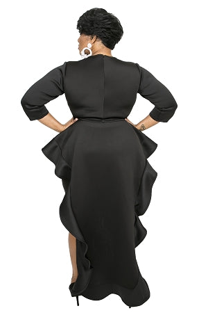 Black Kim Cascading Dress