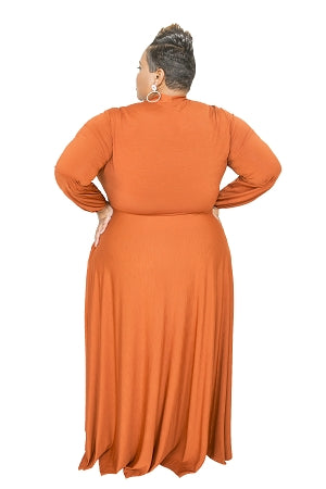 Extended Size Rust Marquis Bow Tie Maxi Dress